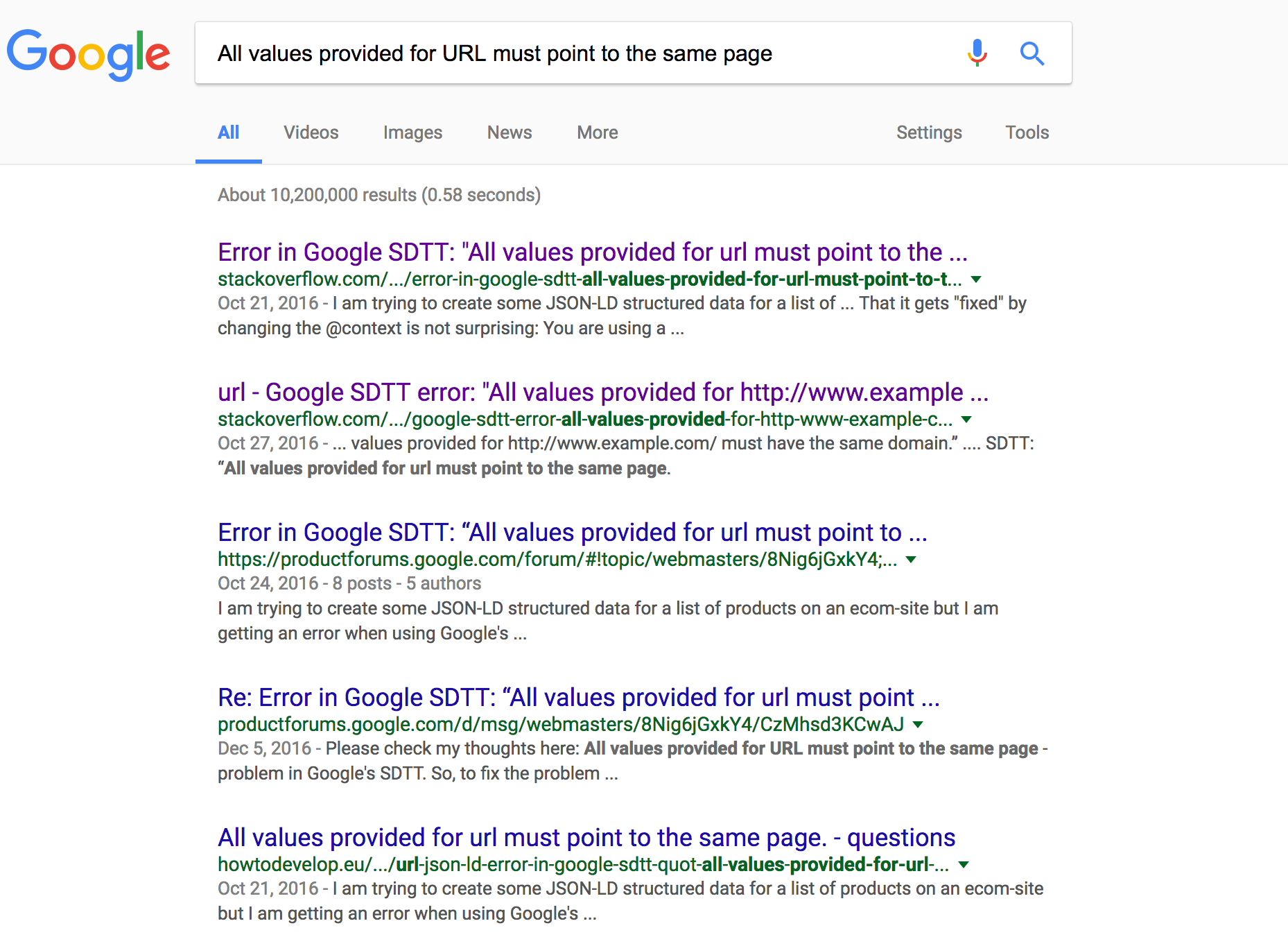 All values provided for URL must point to the same page - Google Search Results ScreenShot