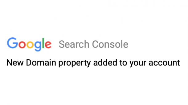 domain property notification in search console